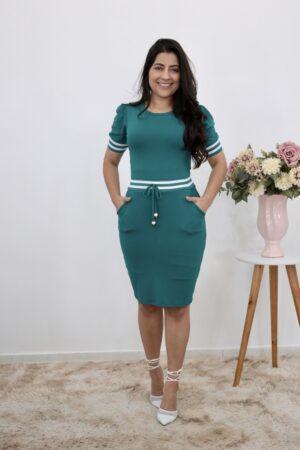 Vestido de Malha Verde Esmeralda