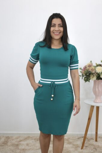 Vestido de Malha Verde com Faixa | Moda Evangélica