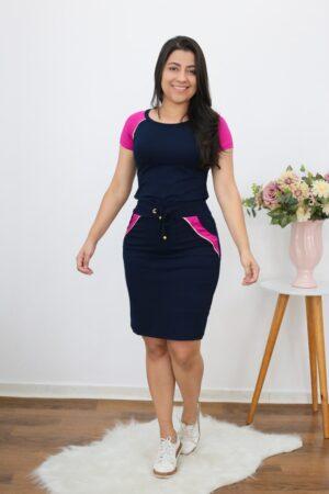 Conjunto de Malha Azul Marinho com Pink