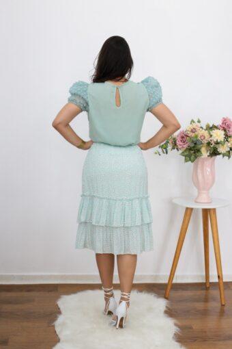Saia Plissada Floral | Moda Evangélica