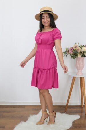 Vestido Pink com babados