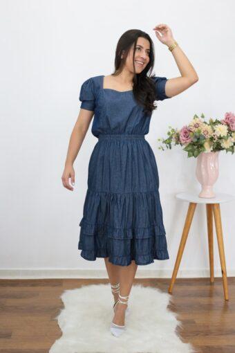 Vestido Midi Jeans | Moda Evangélica