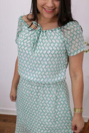 Vestido Midi Verde Estampado
