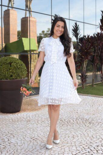 Vestido Plissado Branco   Moda Evangélica