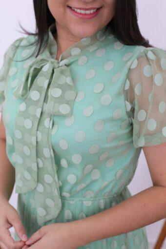 Vestido Plissado Verde Água