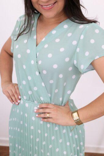 Vestido Plissado Verde Poá | Moda Evangélica