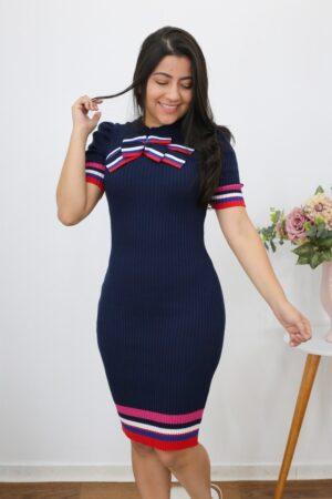 Vestido de Tricot Azul Marinheiro