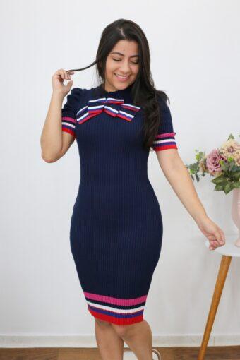 Vestido Tricot Azul Marinheiro