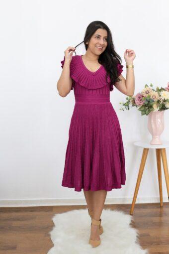 Vestido Tricot Fúcsia | Moda Evangélica