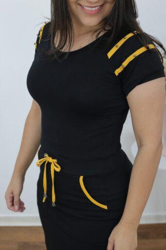 Vestido de Malha Preto com Amarelo