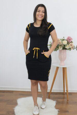 Vestido de Malha Preto e Amarelo