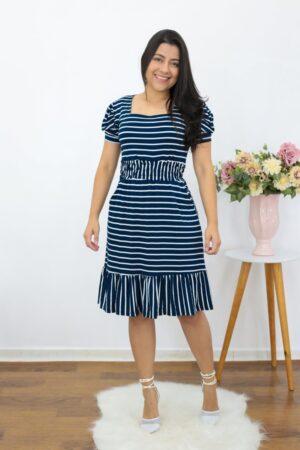 Vestido de Malha Listrado Azul