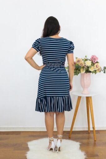 Vestido de Malha Azul Listrado | Moda Evangélica
