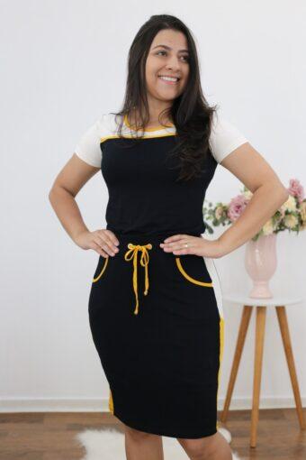 Conjunto de Malha Preto com Amarelo | Moda Evangélica