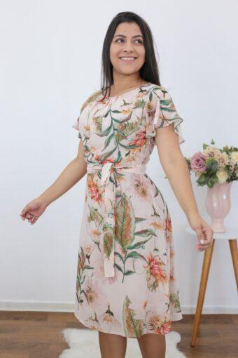 Vestido Floral Evasê | Moda Evangélica