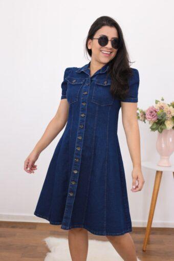 Vestido Jeans Evasê | Moda Evangélica
