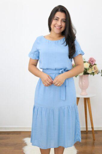 Vestido Midi Light Blue | Moda Evangélica