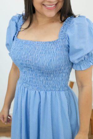 Vestido Midi Xadrez Azul