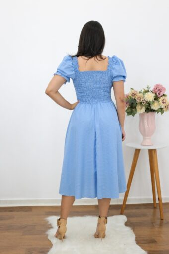 Vestido Midi Xadrez Azul AT | Moda Evangelica