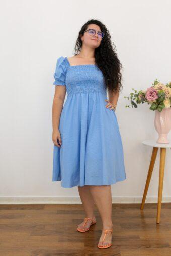 Vestido Midi Xadrez Azul AT | Moda Evangelica Gabi