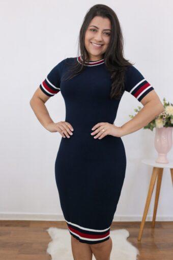 Vestido Tricot Azul Marinho | Moda Evangélica