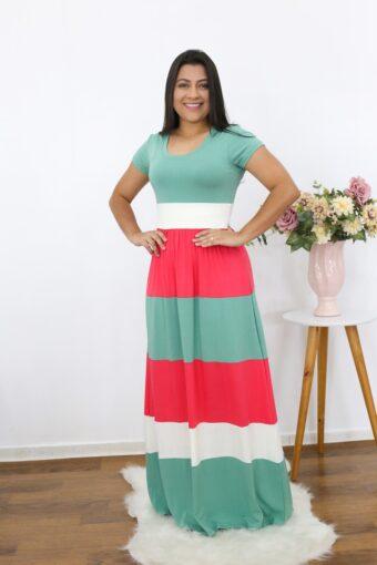 Vestido Longo Listrado | Moda Evangélica