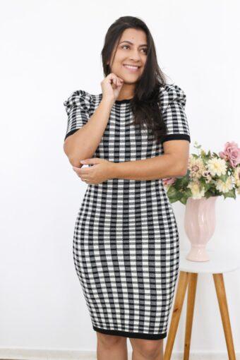 Vestido Tricot Xadrez em Moda Evangélica