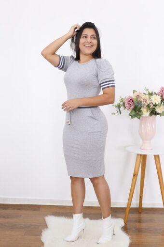 Vestido de Malha Mescla em Moda Evangélica e Executiva