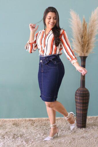 Saia Jeans Bianca | Moda Evangélica | Secretária