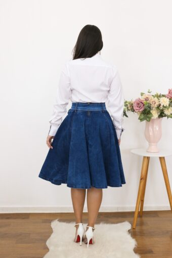 Saia Jeans Godê | Moda Evangélica