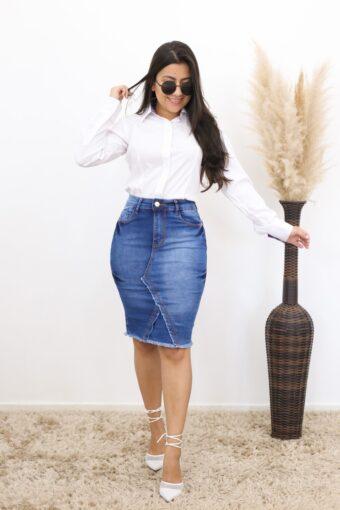 Saia Jeans Lápis Basic | Moda Evangélica