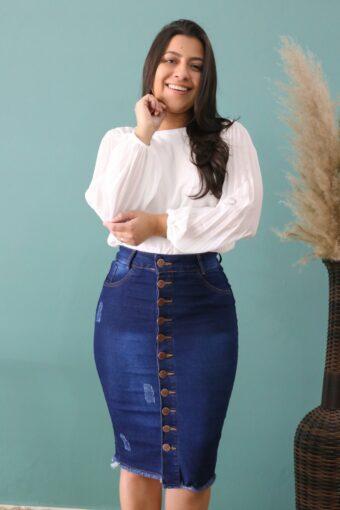 Saia Jeans Bárbara | Moda Executiva | Evangélica