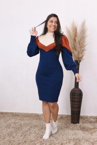 Vestido Tricot Azul Safira   Moda Evangélica