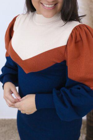 Vestido de Tricot Azul Safira