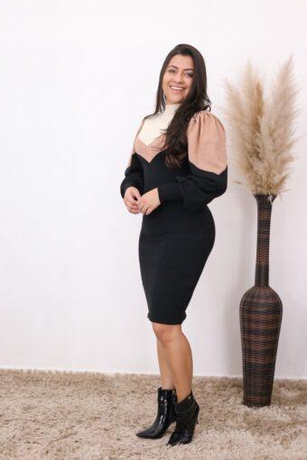 Vestido de Tricot Preto Ágata | Moda Evangélica