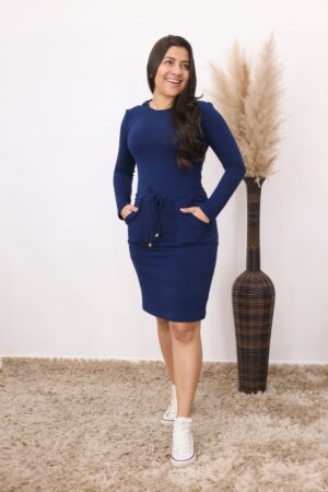 Vestido de Malha Azul Marinho Alana