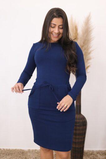 Vestido de Malha Azul Marinho | Moda Evangélica e Executiva