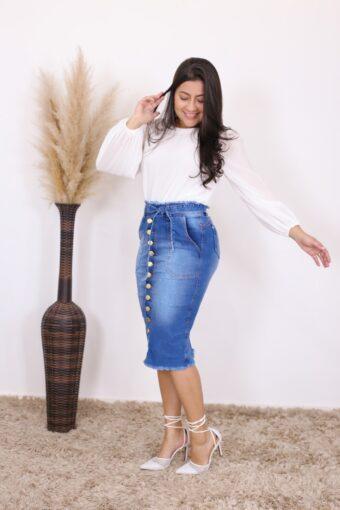 Saia Jeans Midi Giovana | Moda Executiva