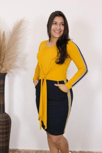 Vestido de Malha Girassol | Moda Evangélica