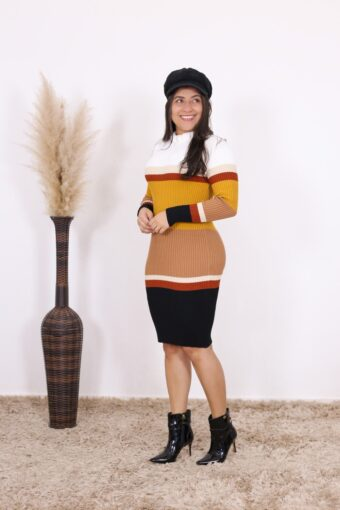 Vestido de Tricot Cappuccino   Moda Evangélica