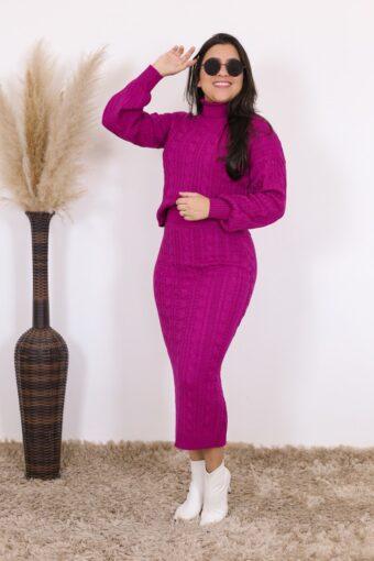 Conjunto de Tricot Fucsia Amanda | Moda Evangélica