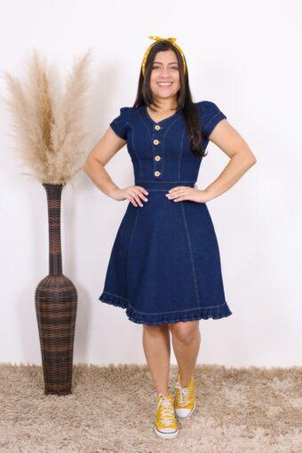 Vestido Jeans Cinderela | Moda Evangélica