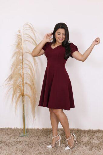 Vestido Bordô Analice AT | Moda Evangélica