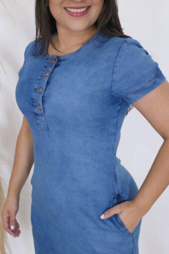 Vestido Jeans Soltinho Claro | Moda Evangélica