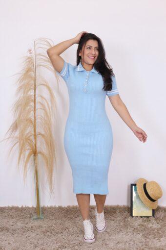 Vestido Tricot Polo Candy | Moda Evangélica